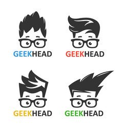 Geeks and nerds set of logos vector