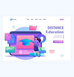 Girl with educational materials distance education vector