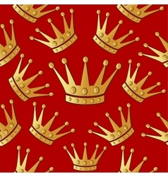 Gold crown on a red Seamless background vector
