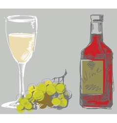 grape and wine vector image