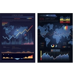 graphic chart with map world infographics vector image