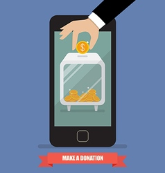 Hand donating money by smartphone vector