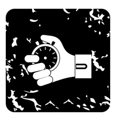 Hand holding stopwatch icon grunge style vector image