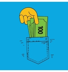 Hand poket and money vector