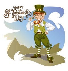 happy saint patrick s day character with green vector image