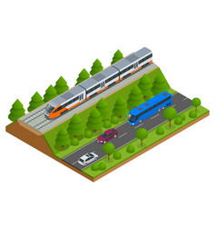 Isometric train tracks and modern train railroad vector