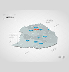 isometric zimbabwe map with city names vector image