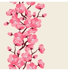 Japanese sakura seamless pattern with stylized vector image