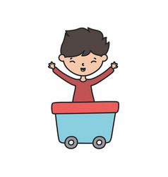 Little boy infant cartoon character in wagon toy vector