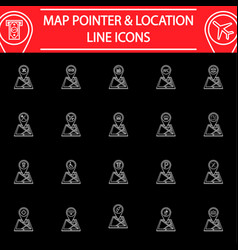 Map pointer line icon set gps and location vector