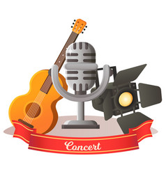 mic and guitar musical equipment concert vector image