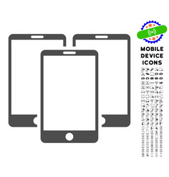 Mobile phones icon with set vector