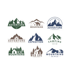 mountain logo flat set of vector image