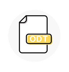 odt file format extension color line icon vector image