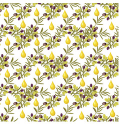 olive pattern seamless background with olive vector image
