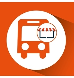 Online shop transport bus design icon vector