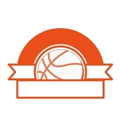 Orange emblem half with volleyball ball and ribbon vector