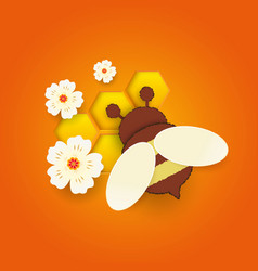 paper cut like a bee with honeycombs design vector image