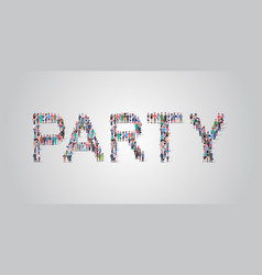 people crowd gathering in shape party word vector image