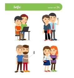People Taking Selfie vector