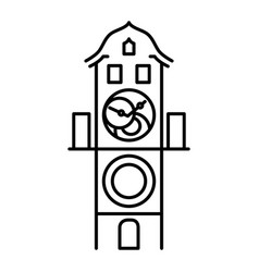 Prague astronomical clock isolated icon simple vector