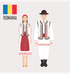 romanian man and woman in traditional costumes vector image