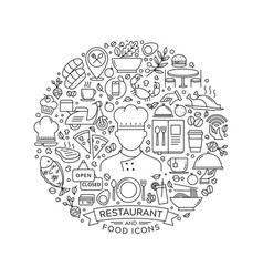 Round design element with restaurant icons vector