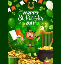 Saint patricks day leprechaun gold and beer vector
