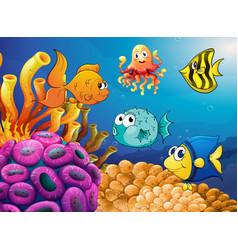 Sea animals swimming under ocean vector