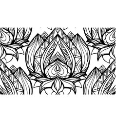 seamless black and white pattern with lotus with vector image