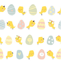 seamless pattern with easter eggs and chicks vector image