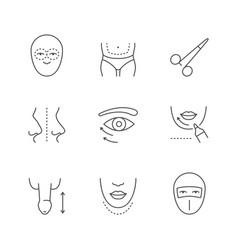 Set line outline icons plastic surgery vector