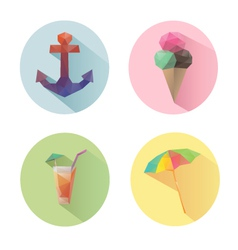 Set of flat design summer icons isolated vector