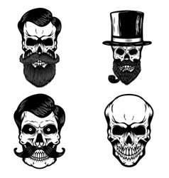 Set of hipster skulls isolated on white vector