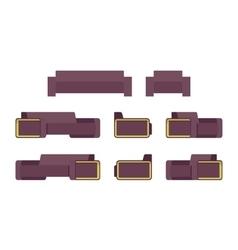 Set of modern sofa and armchiar vector image