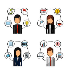 Set of people busines office items vector