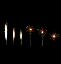 set six bengal sparklers burning with golden vector image