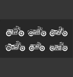 set vintage motorcycles white silhouettes isolate vector image