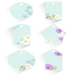Several tag with various flowers vector