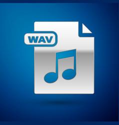 Silver wav file document download wav button icon vector