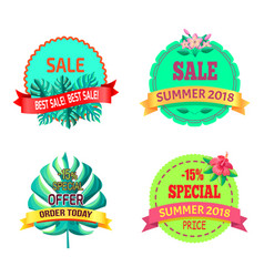 Special offer sumer 2018 logo with tropical plants vector