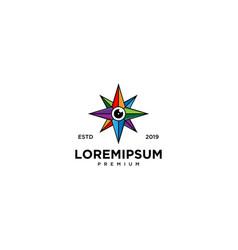 Star lens emblem label logo design vector