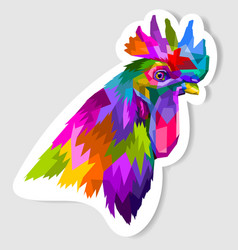 sticker colorful head rooster in pop art vector image