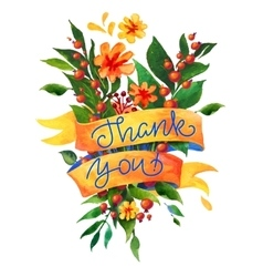 Thank you watercolor flower card vector