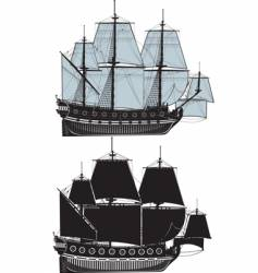 the old sailing ship vector image