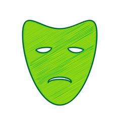 Tragedy theatrical masks lemon scribble vector