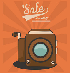 Vintage video camera sale special offer technology vector
