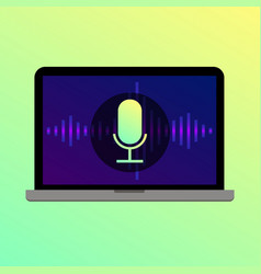 Voice search microphone icon on laptop screen vector