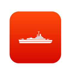 Warship icon digital red vector