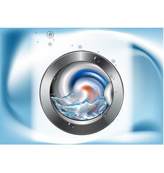 Washing machine in motion washable laundry vector
